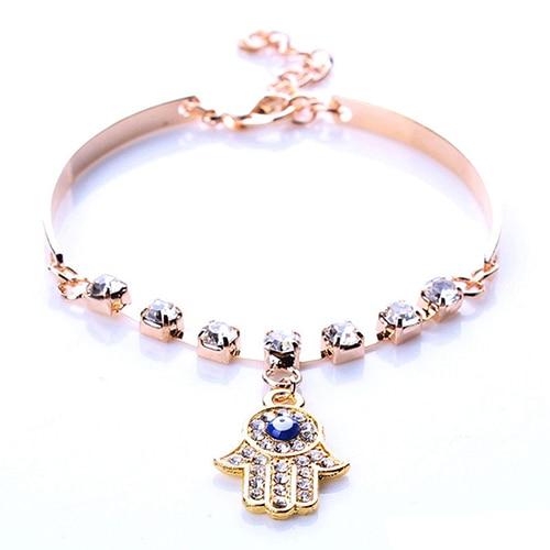 2016 Brand Women Hamsa Symbol Fatima Hand Pendant Rhinestone  Bracelet Bangle Jewelry Gift  6KGV 7FVP 89FS