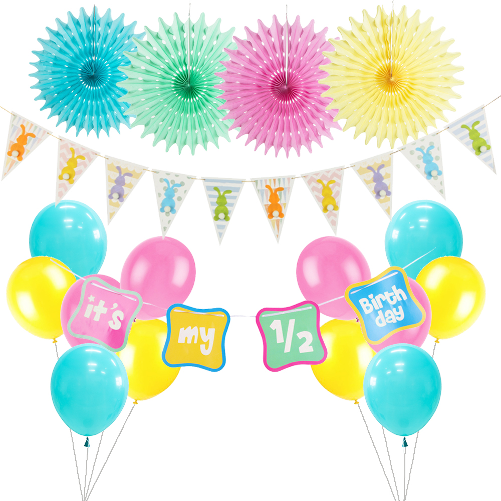 Baby 1st Birthday Party Decoration Kit Paper Fans Happy Banner Latex Balloon Tassel Garlands