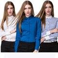 Las mujeres blusa de manga larga de 2016 más el tamaño completo de las mujeres trabajan blusa otoño notched sólido y rayas ropa de algodón caliente de la manera venta