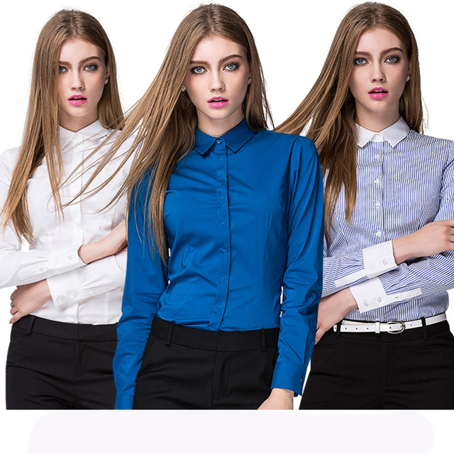women blouse long sleeve 2016 plus size full women work blouse autumn cotton notched solid and striped clothes fashion hot sale
