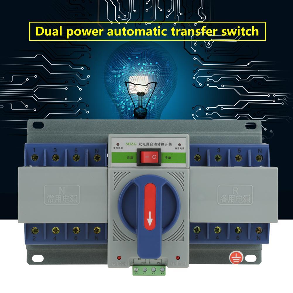 220 V 63A 4 P commutateur de transfert Mini double interrupteur de transfert automatique de puissance disjoncteur commutateur de transfert d'économie d'énergie