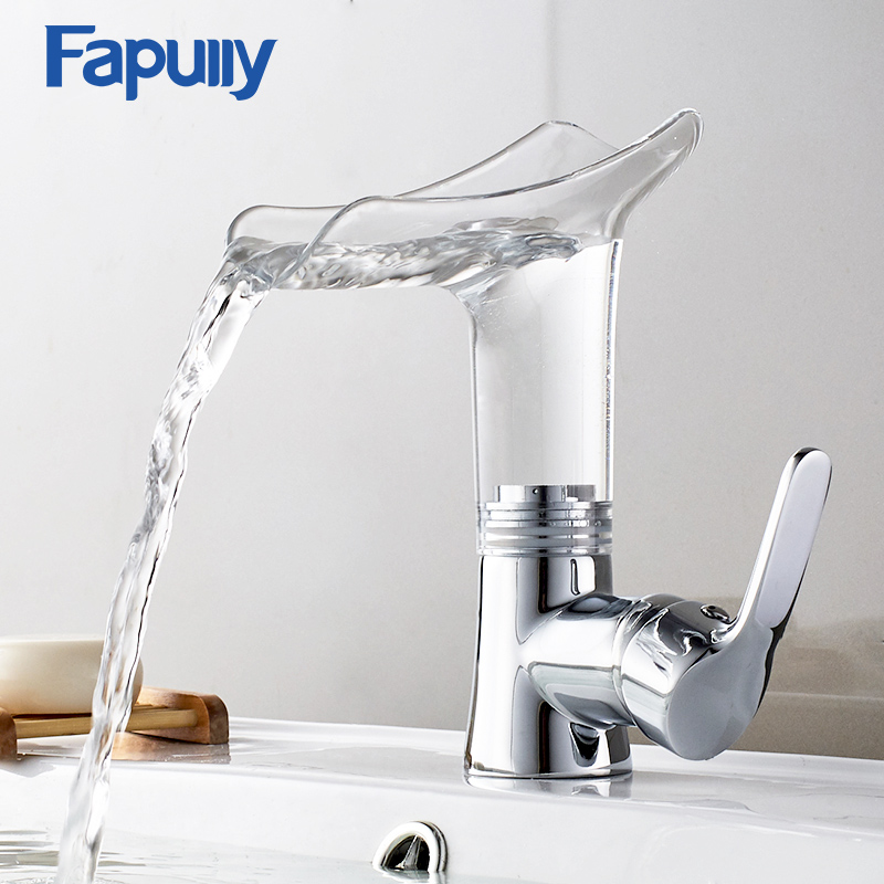 Basin Faucet Waterfall Bathroom Basin Mixer Tap Cold Hot Silver Chrome Single Handle Sink Deck Mounted Bath Torneiras 1007 22CD in Basin Faucets from Home Improvement