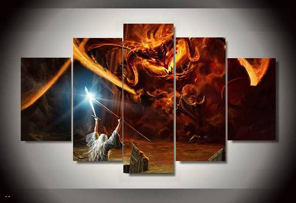 5 Panel Magic Monster Balrog Lord Of The Rings Wiki Home Wall Decor