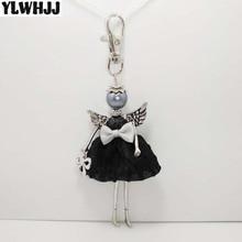 YLWHJJ brand new women bag keychain girl princess black Doll alloy car anime key chains cute baby handmade fashion jewelry