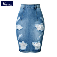 Hole Design Back Split Slim Bandage Skirts 2017 Fashion High Waist Vintage Skinny Mini Bodycon Pencil