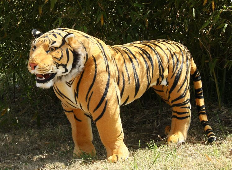 huge plush tiger toy simulation yellow standing tiger doll large tiger doll birthday gift about 110x70cm 2405 simulation animal huge leopard plush toy 110x70cm high quality can be rided birthday gift christmas gift w0442