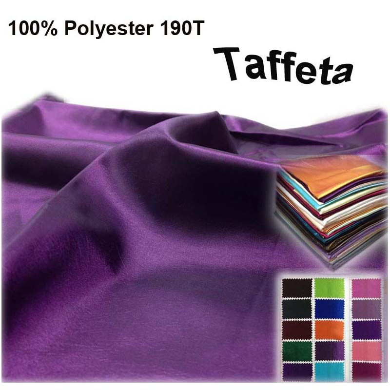 Polyester 190T Taffeta Fabric Width 150cm 1 Lot 10 Meters Plain Dyed Wedding Party Dress Stage