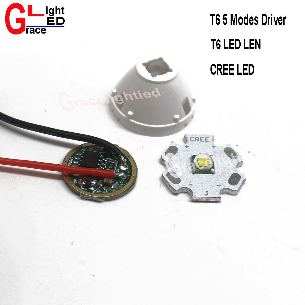 Cree XML XM-L2 L2 10W LED on 12 14 16 20mm Black//White PCB DC3.7V 5 Mode Driver