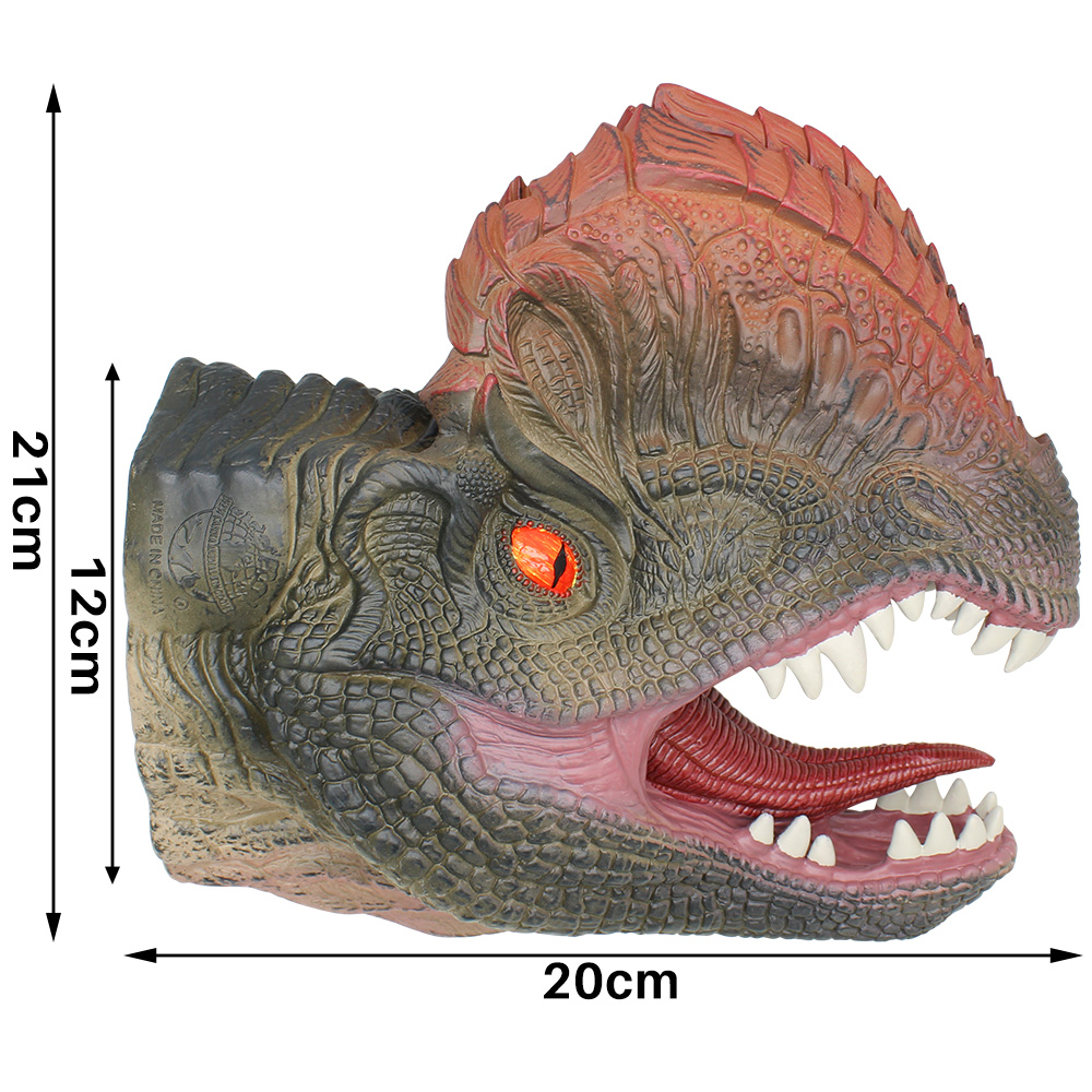 Dilophosaurus Hand Puppets For Stories Dinosuar Hand Puppet Soft Non-toxic Rubber Figure Toy Children Gift Realistic Dino Mode
