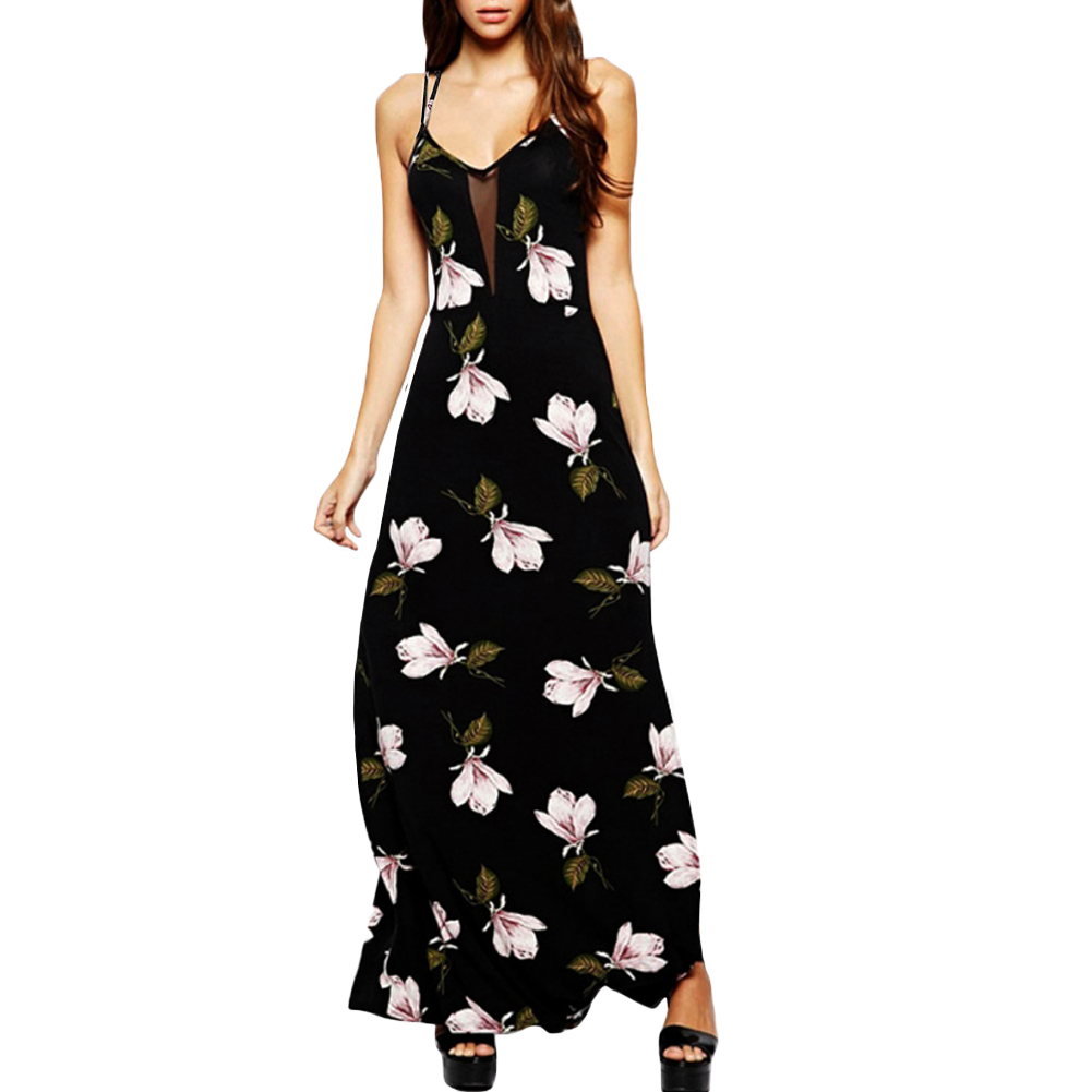 Ladies Plus Size Floral Strappy Sleeveless Long Stretch Lined Maxi Dress 14-28