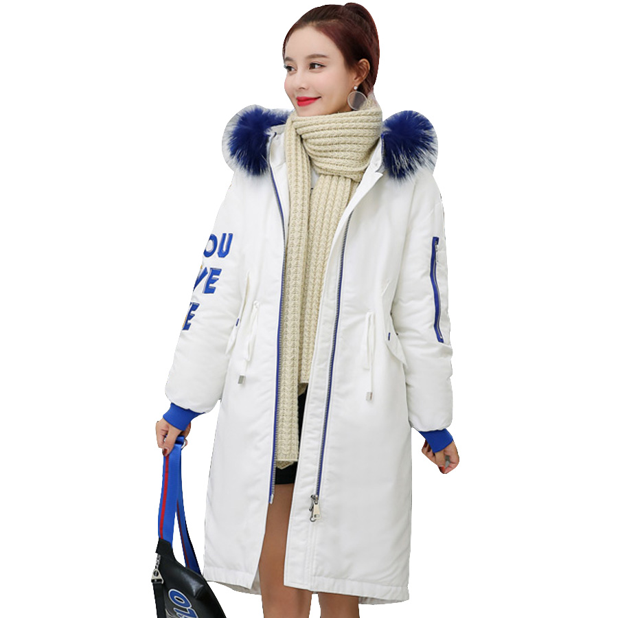 Long White Capuchon Blue Mode Manteau Fourrure Épais De Plus Chaud nYBBZO