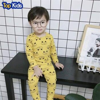 Boys Girls Pyjamas Cartoon Print Cat Pajamas Set Child Nightwear Long Sleeve T shirt + Pants Kids Sleepwear MB477 1