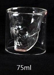 Двухслойная прозрачная Хрустальная стеклянная чайная чашка с черепом 3 размеров для виски, вина, водки, бара, пива, вина - Цвет: 75ml