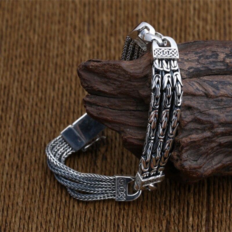 925 Браслеты стерлингового серебра для Для мужчин Для женщин Винтаж S925 твердый тайский серебряный цепи браслеты, бижутерия, подарок на день р... - 4