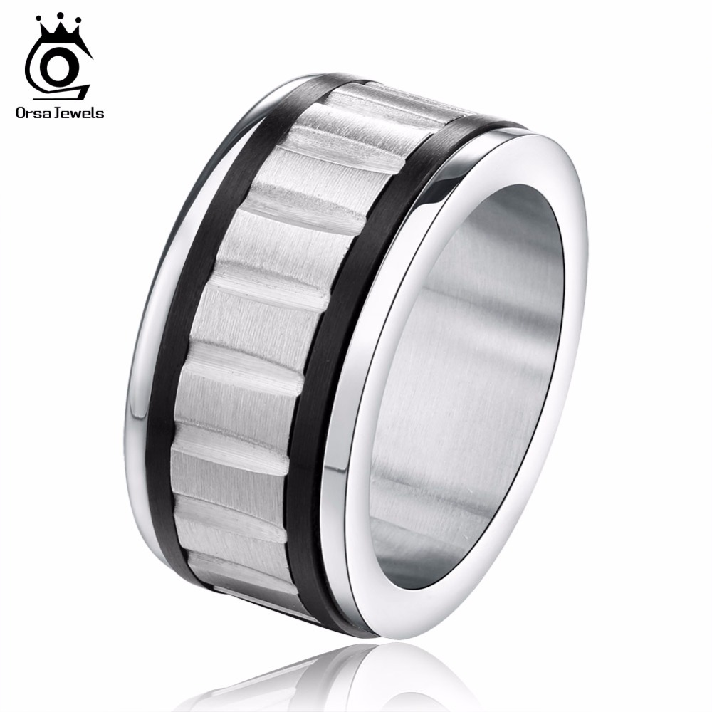 orsa jewels classic 316l stainless steel gear rings 2017 high polished steam punk mens lead - Gear Wedding Ring