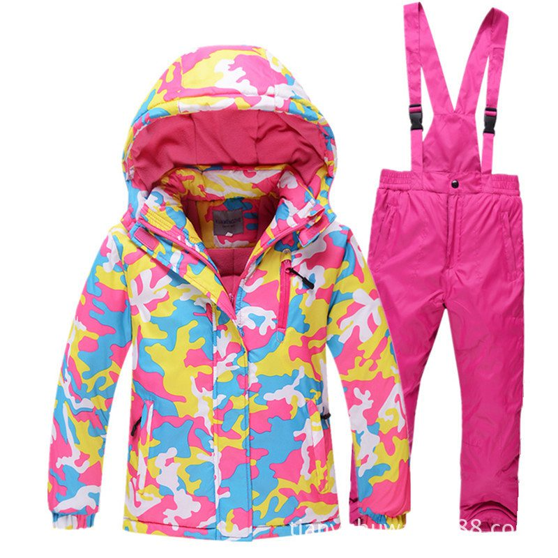 1girls Ski Suit Waterproof Pants+jacket Snowboard Set Winter Sports Camping Hiking Clothes Girls Snow Jacket Thermal Clothing Workplace Safety Supplies Safety Clothing