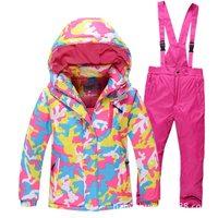 1Girls Ski Suit Waterproof Pants+Jacket Snowboard Set Winter Sports Camping Hiking Clothes Girls Snow Jacket Thermal Clothing