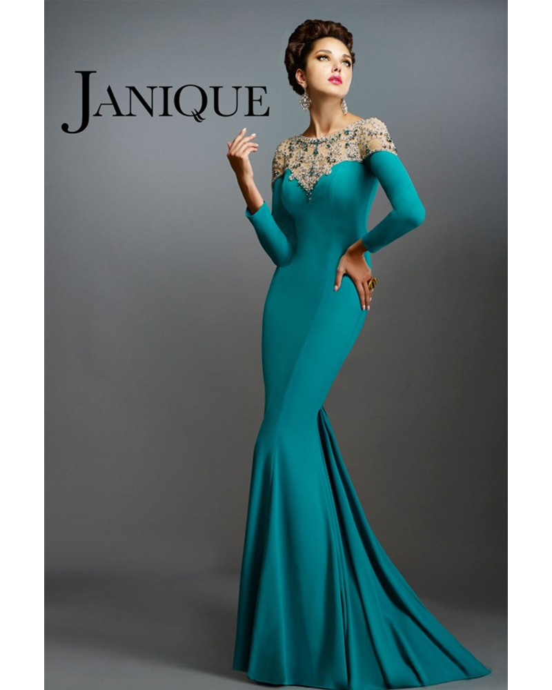 Elegant Muslim Evening Dresses Dark Green Mermaid Long Sleeves Beading font b Abaya b font In