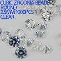 1000 pcs 1 - 3.5 mm Crystal Clear cor brilhante cortes rodada Cubic Zirconia Beads pedra suprimentos para jóias DIY Nail Art decoração