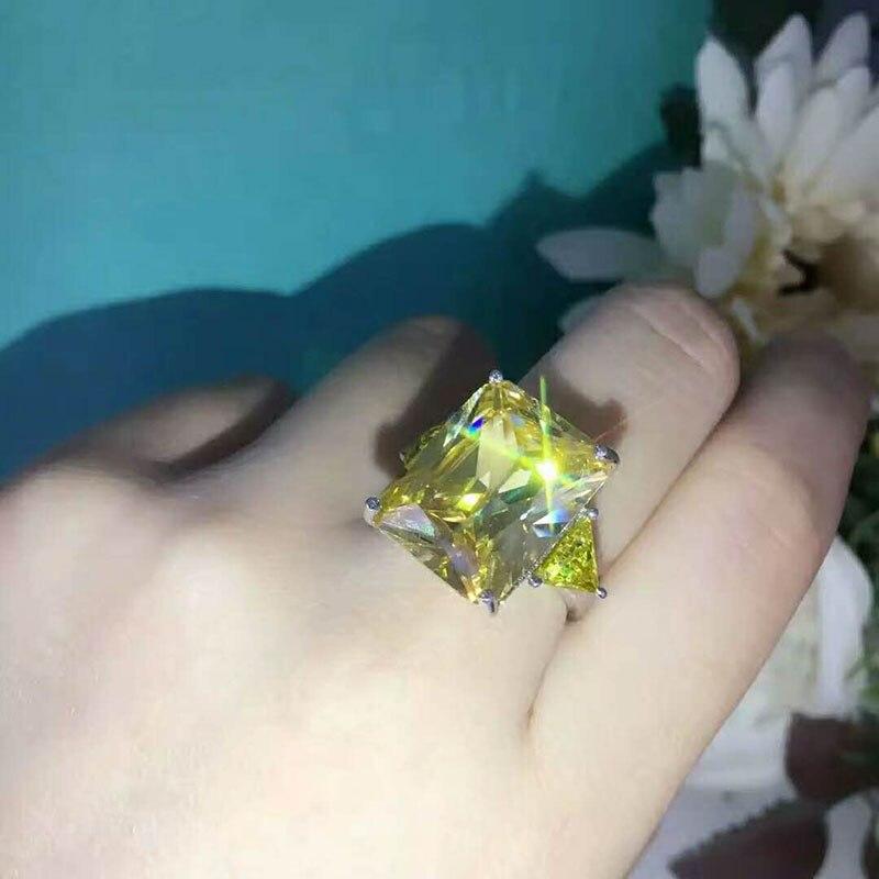 Cristal de mariage couleur argent anneaux feuille fiançailles couleur argent cubique jaune Zircon anneau mode nouvelle marque Bijoux pour les femmes