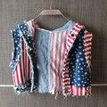 top grade women's tanks United State Flag printed denim jeans tops short vest bar pub DS dancer sexy clothing regata feminina