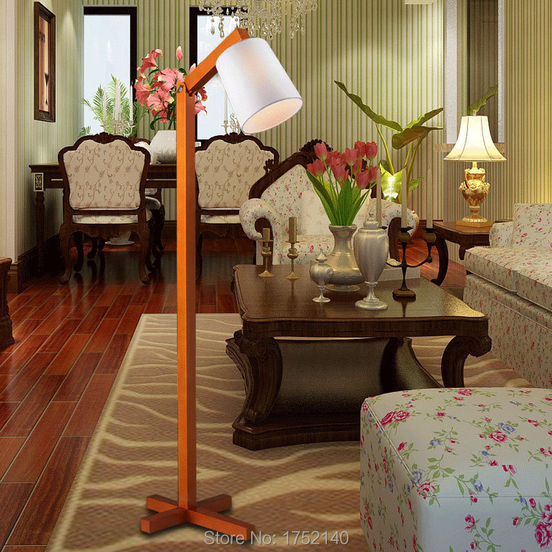 Classic Chinese Wood Floor Lamp Modern Minimalist Living Room Bedroom Led American Country Floor
