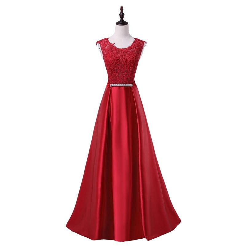 Элегантное вечернее платье с длинным аппликации платье для банкета, вечеринки Потрясающие сатиновое платье для выпускного вечера; Robe De Soiree vestido de festa - Цвет: red wine