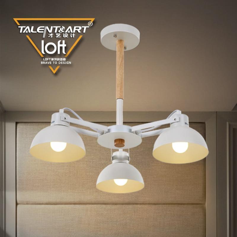 E27 Iron Wood Lamp Industrial Pendant Light Modern Steel Staircase ...
