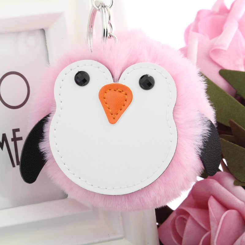 PINXIU llavero de piel de imitación de piel de conejo bombilla bolsa bola pingüino llavero Poret Clef mujeres encantadoras aves mullidas llavero YSK47