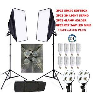 Image 2 - Набор софтбоксов для фотостудии, 8 светодиодов, 24 Вт, 2 штатива