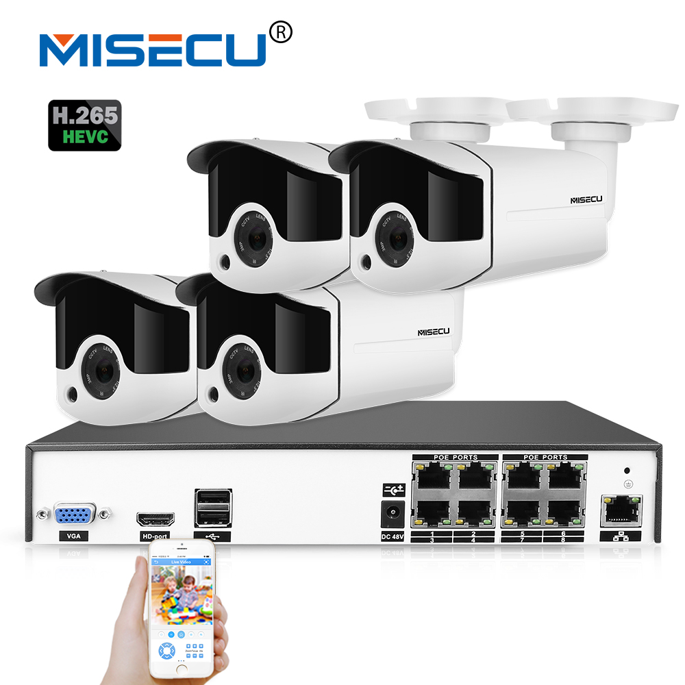MISECU H.265/H.264 4.0MP Motorized Zoom 8CH 4K POE NVR 48V POE WDR IP Array Night IR Motion Detect Waterproof Surveillance CCTV