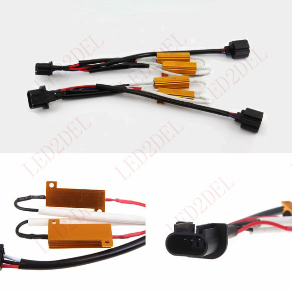 9008 H13 Load Resistor Warning Error Decoder Canceller For LED Bulb Fog Light (2pcs) 2x car 1157 bay15d 1034 warning canceller error free load resistor led decoder