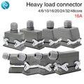 Conector Rectangular de alta resistencia hdc-04/6/10/16/20/24/32/48 core aviation plug 16A líneas principales y líneas laterales