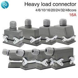 Conector resistente retangular hdc-04/6/10/16/20/24/32/48 núcleo aviação plug 16a linhas superiores e linhas laterais
