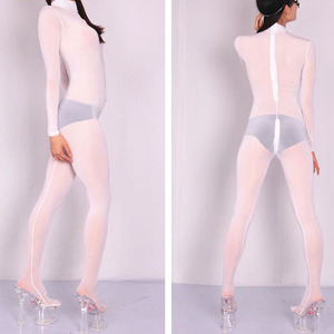 Image 5 - Plus rozmiar lodowy jedwab przezroczysty Bodystocking seksowna gorąca erotyczna bielizna jednoczęściowy Zip otwarte krocza body miś kombinezon Catsuit