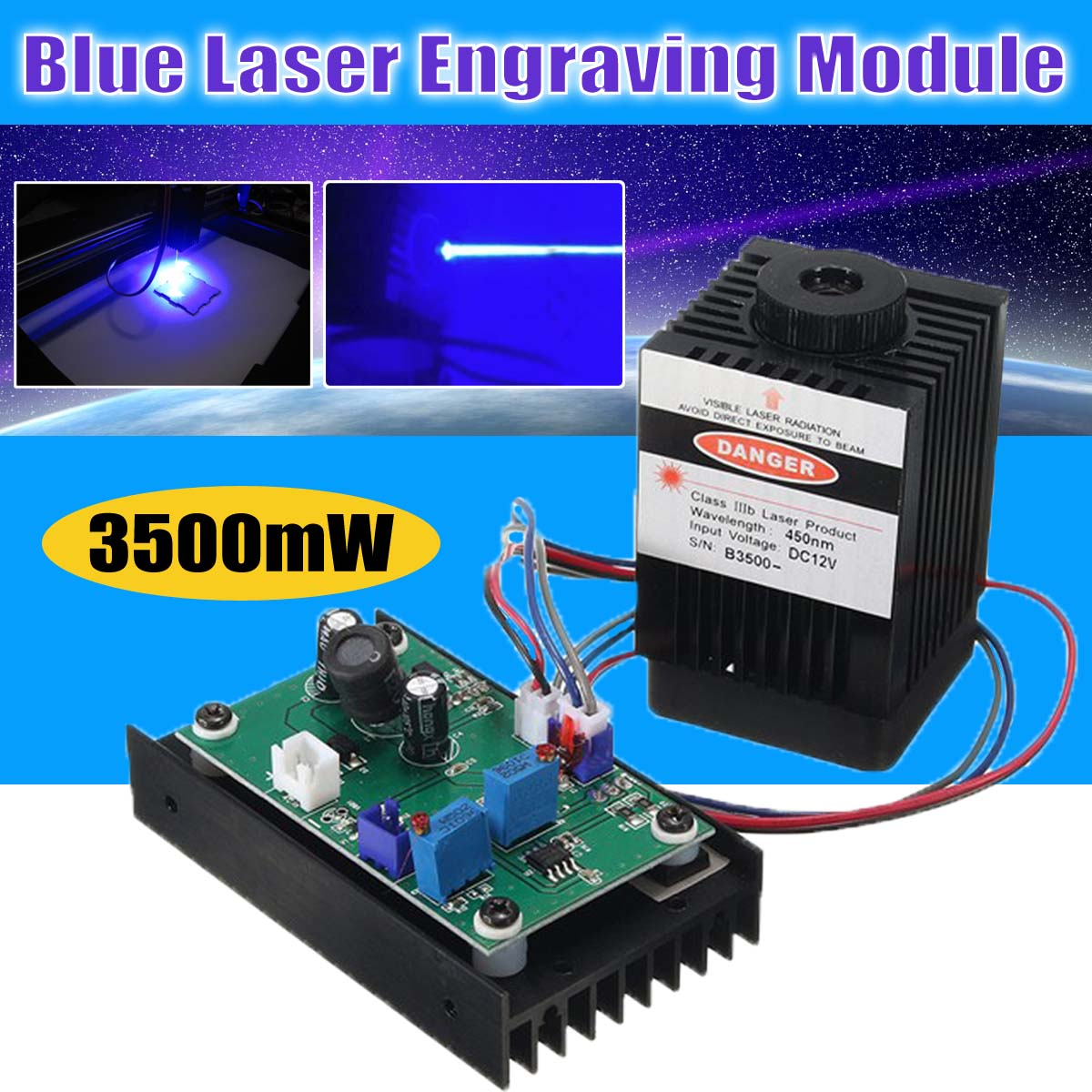 3500mw Blue Laser Module High Power 3.5W Laser Head DIY Metal Engraving 450nm for DIY Laser Engraving Cutting Machine dhlship high power diy laser engrave module engraving laser module blue light 450nm diy steel mark 10000mw 10w blue laser module