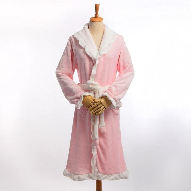 e9f939758b Winter Warm Fleece Bathrobes Women Sweet Thicken Flannel Long Sleeve  Sleeping Robes Sleepwear Pajamas