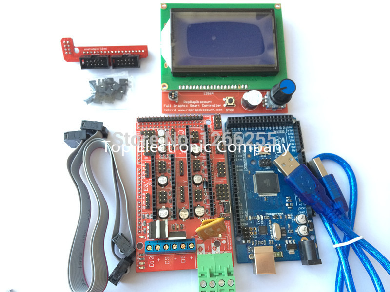 Mega 2560 R3 Mega2560 REV3 + 1pcs RAMPS 1.4 Controller + LCD 12864 control panel for 3D Printer arduino kit Reprap MendelPrusa