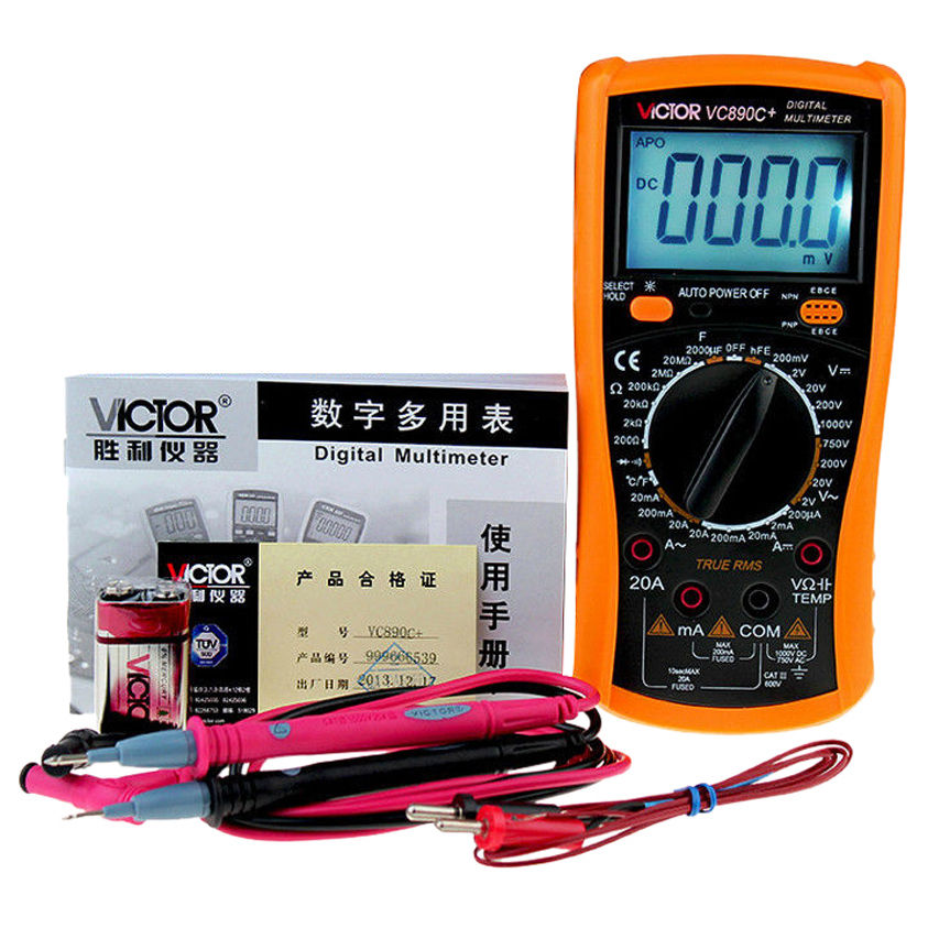 VICTOR VC890C+ LCD Display Digital Multimeter 20000uF Capacitor support 2017 alldata auto repair software v10 53 all data and mitchell software 2015 161g atsg moto heavy truck 4in1tb hdd