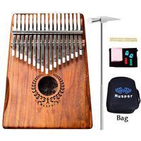 Muspor 17 Keys Wreath Acacia Kalimba Thumb Piano Mbira Finger Percussion Music Instrument Wooden African Calimba with Bag