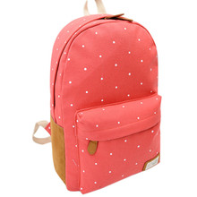 Woweino 2016 Fashion Students Oversize Bag Backpack Women Girl Canvas Rucksack Polka Dot Backpack School Book Shoulder Bag