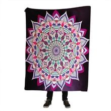 Velvet Plush Reversible Sherpa Blanket Bohemian Elephant Mandala Pattern Fleece Microfiber for Bed Couch