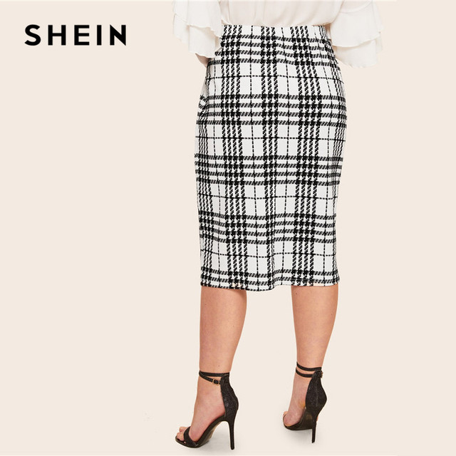 SHEIN Black Solid Women Plus Size Elegant Pencil Skirt Spring Autumn Office Lady Workwear Stretchy Bodycon Knee-Length Skirts 3