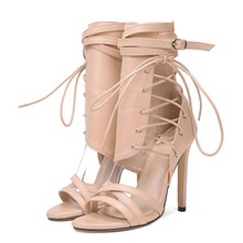 Rome Buckle strap Shoes Women Sandals Sexy Gladiator Lace up Peep toe Sandals high heels Woman Ankle Boots prova perfetto new rome wedges sandals women rivet t strap high heels sandals real leather ankle buckle peep toe ladies sandals