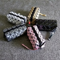 Women Laser Flash Diamond Leather Makeup Bag Ladies Cosmetics Organizer New Trend Geometric Zipper Cosmetic Clutch Bag 2540