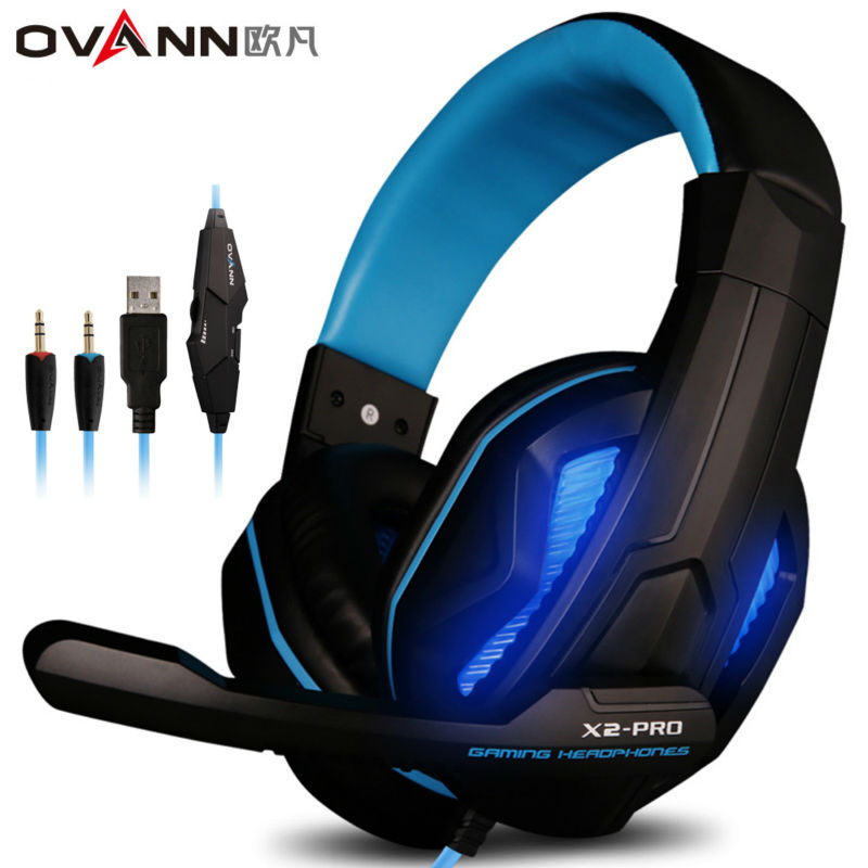 Ovann X2 Over-ear Game Gaming Headphone Wired Headset Earphone Headband with Microphone Stereo Bass LED Light Selectable PC super bass gaming headphones with light big over ear led headphone usb with microphone phone wired game headset for computer pc