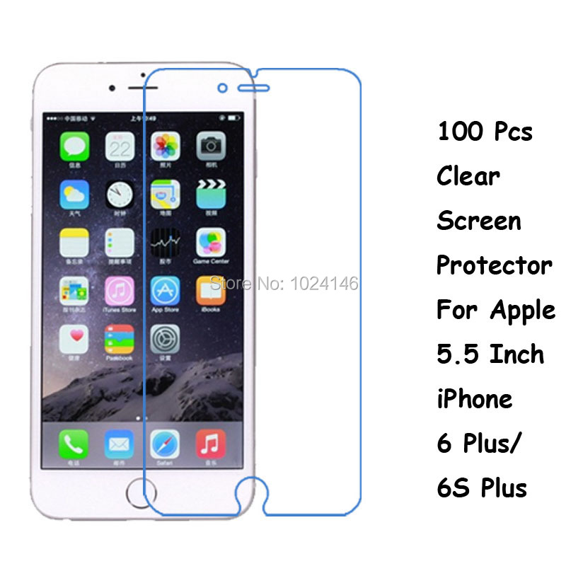 New 100 Pcs/Lot HD Clear Screen Protector For Apple 5.5 Inch iPhone 6 Plus / 6S Plus Protective Film Guard With Cleaning Cloth