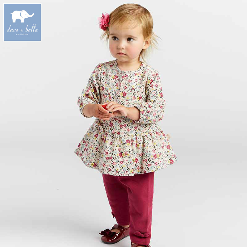 DBA7966 dave bella autumn infant baby girls fashion floral clothing sets children 2 pc toddler suit db3704 dave bella autumn baby girls floral clothing sets kids flower clothing sets toddle cloth kids sets baby costumes