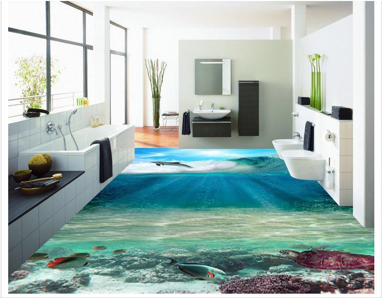 Personnalisé photo fonds d'écran 3d pvc peinture au sol peintures murales 3D océan étage beauté Stickers muraux décoration de la maison