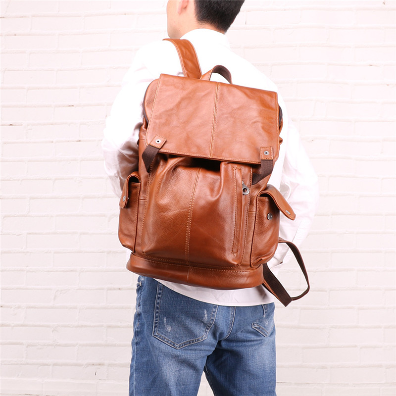 Nesitu High Quality New Large Brown Black Genuine Leather 14 15 6 Laptop Men Backpacks Daypack